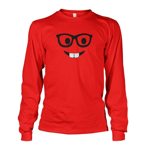 Nerdy Face Long Sleeve - Red / S - Long Sleeves