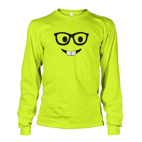 Nerdy Face Long Sleeve - Safety Green / S - Long Sleeves