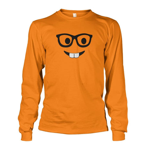 Nerdy Face Long Sleeve - Safety Orange / S - Long Sleeves