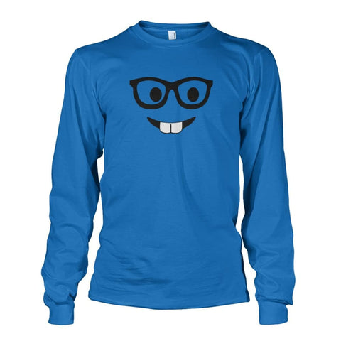 Nerdy Face Long Sleeve - Sapphire / S - Long Sleeves