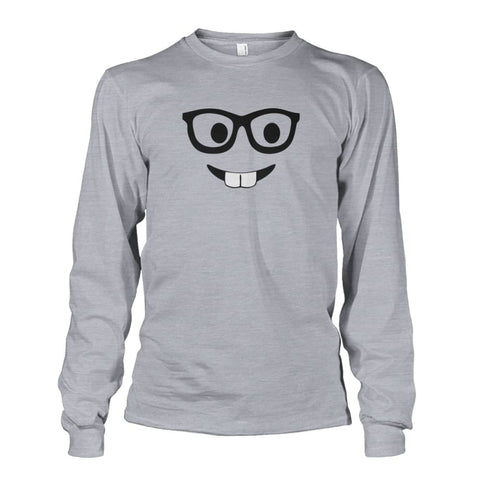Nerdy Face Long Sleeve - Sports Grey / S - Long Sleeves