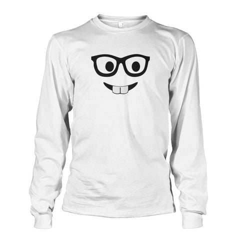Nerdy Face Long Sleeve - White / S - Long Sleeves