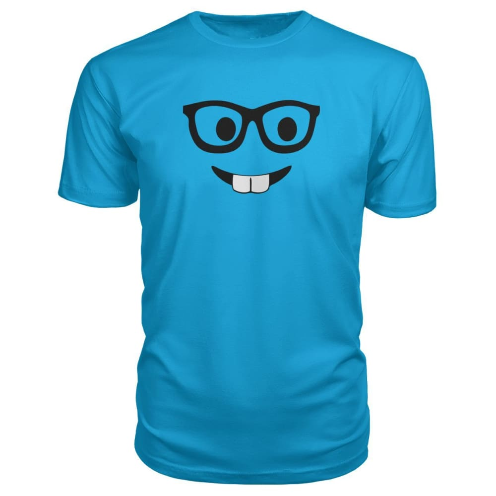 Nerdy Face Premium Tee - Carribean Blue / S - Short Sleeves