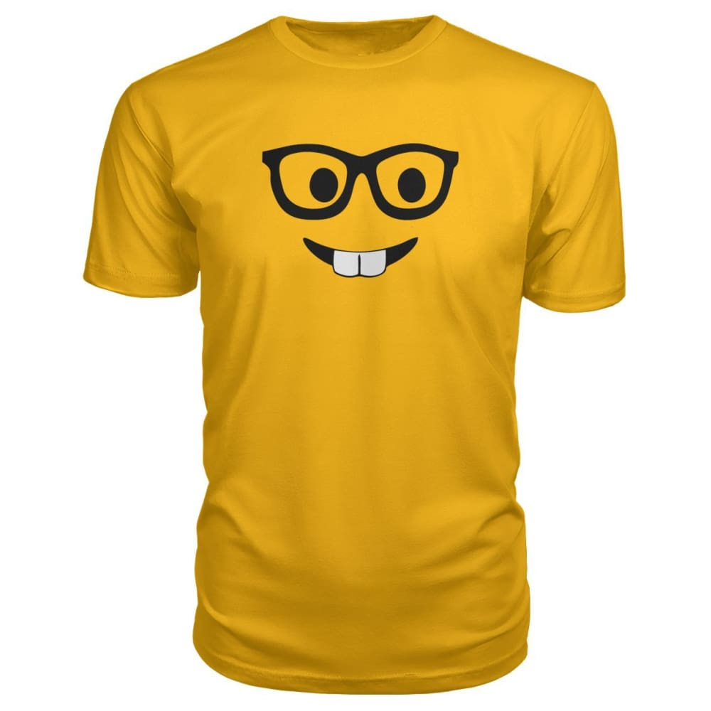Nerdy Face Premium Tee - Gold / S - Short Sleeves