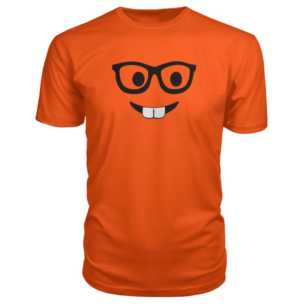 Nerdy Face Premium Tee - Orange / S - Short Sleeves