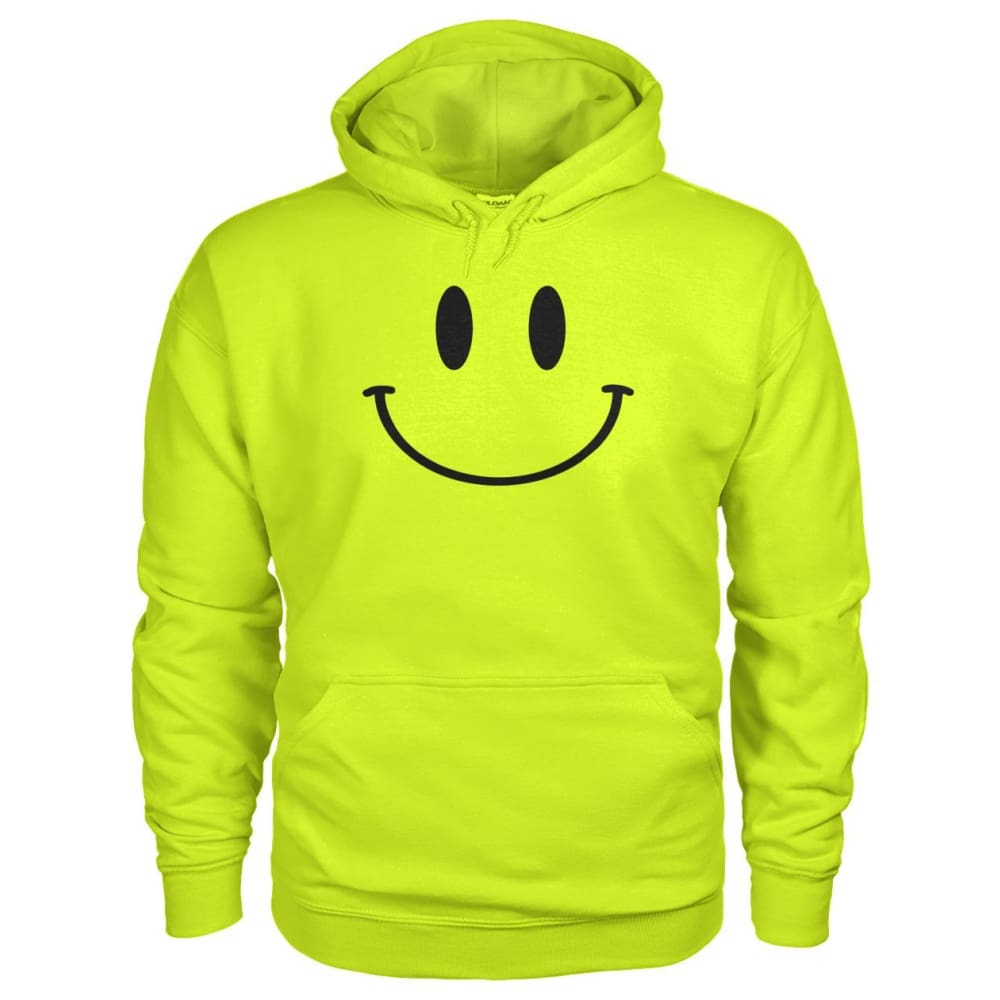 Smiley Face Hoodie - Safety Green / S - Hoodies