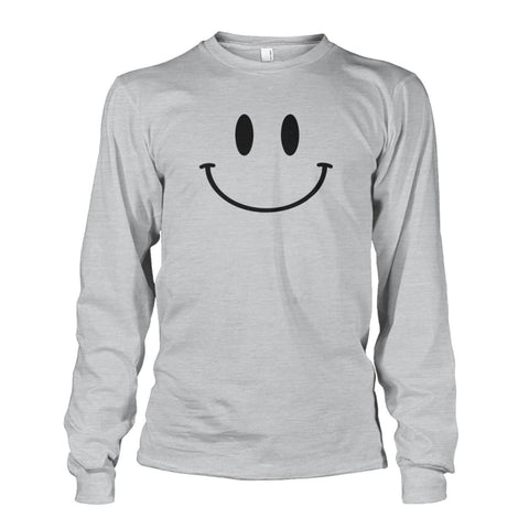 Smiley Face Long Sleeve - Ash Grey / S - Long Sleeves