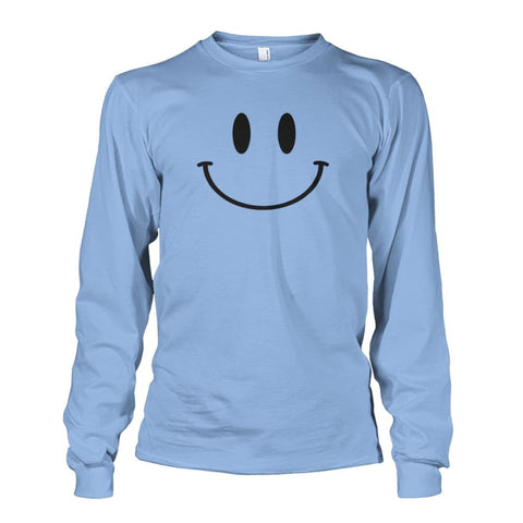 Smiley Face Long Sleeve - Light Blue / S - Long Sleeves