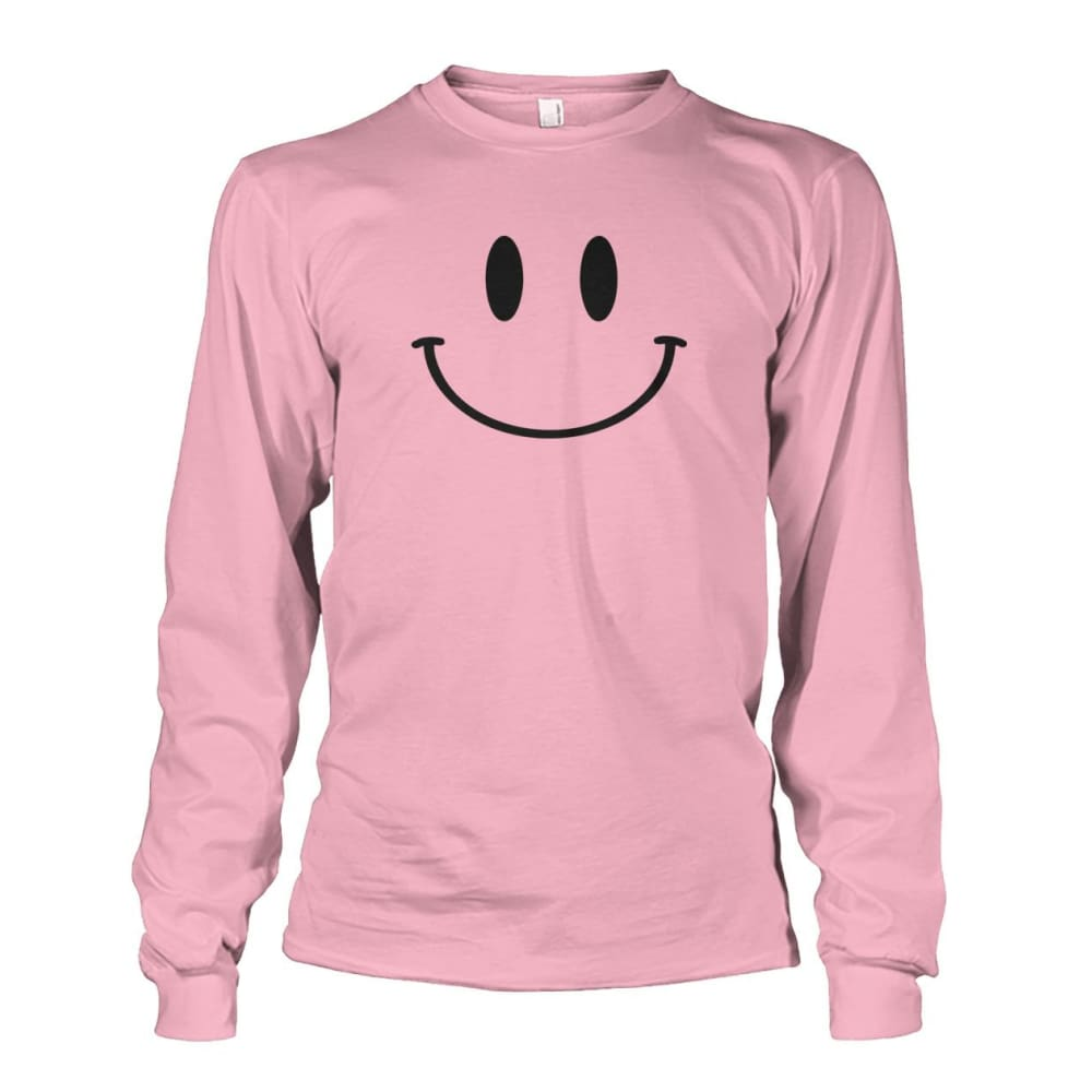 Smiley Face Long Sleeve - Light Pink / S - Long Sleeves