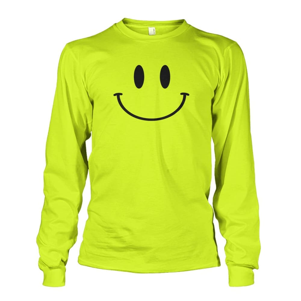 Smiley Face Long Sleeve - Safety Green / S - Long Sleeves