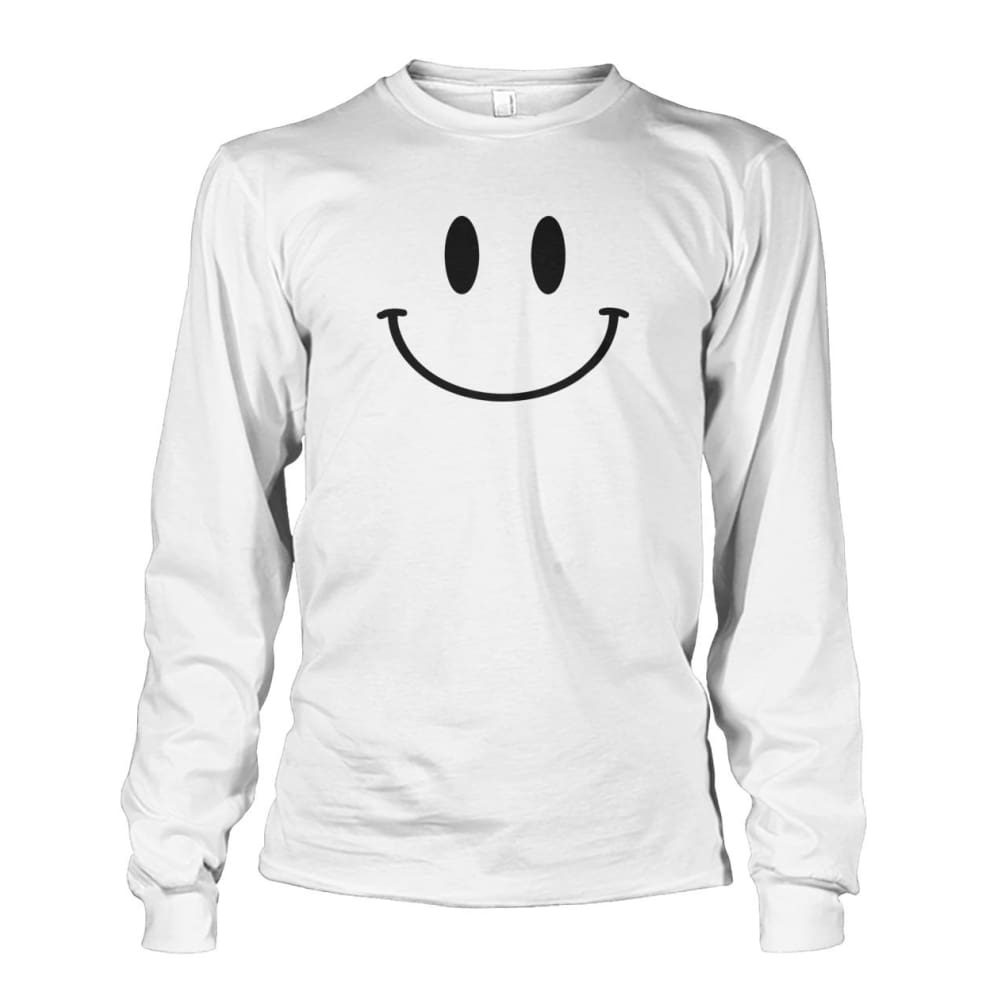 Smiley Face Long Sleeve - White / S - Long Sleeves