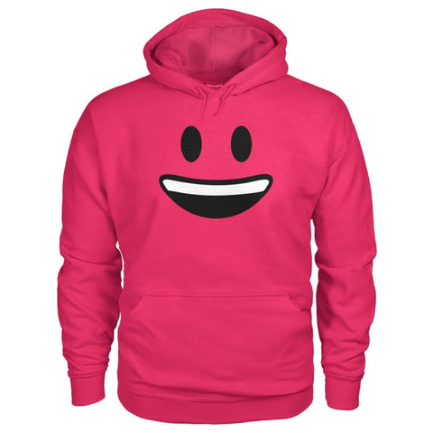Smiley Face With teeth Hoodie - Heliconia / S - Hoodies