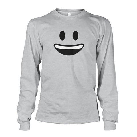 Smiley Face With teeth Long Sleeve - Ash Grey / S - Long Sleeves