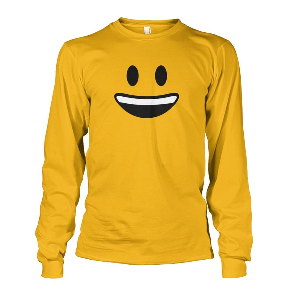 Smiley Face With teeth Long Sleeve - Gold / S - Long Sleeves