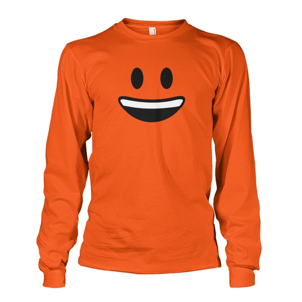 Smiley Face With teeth Long Sleeve - Orange / S - Long Sleeves