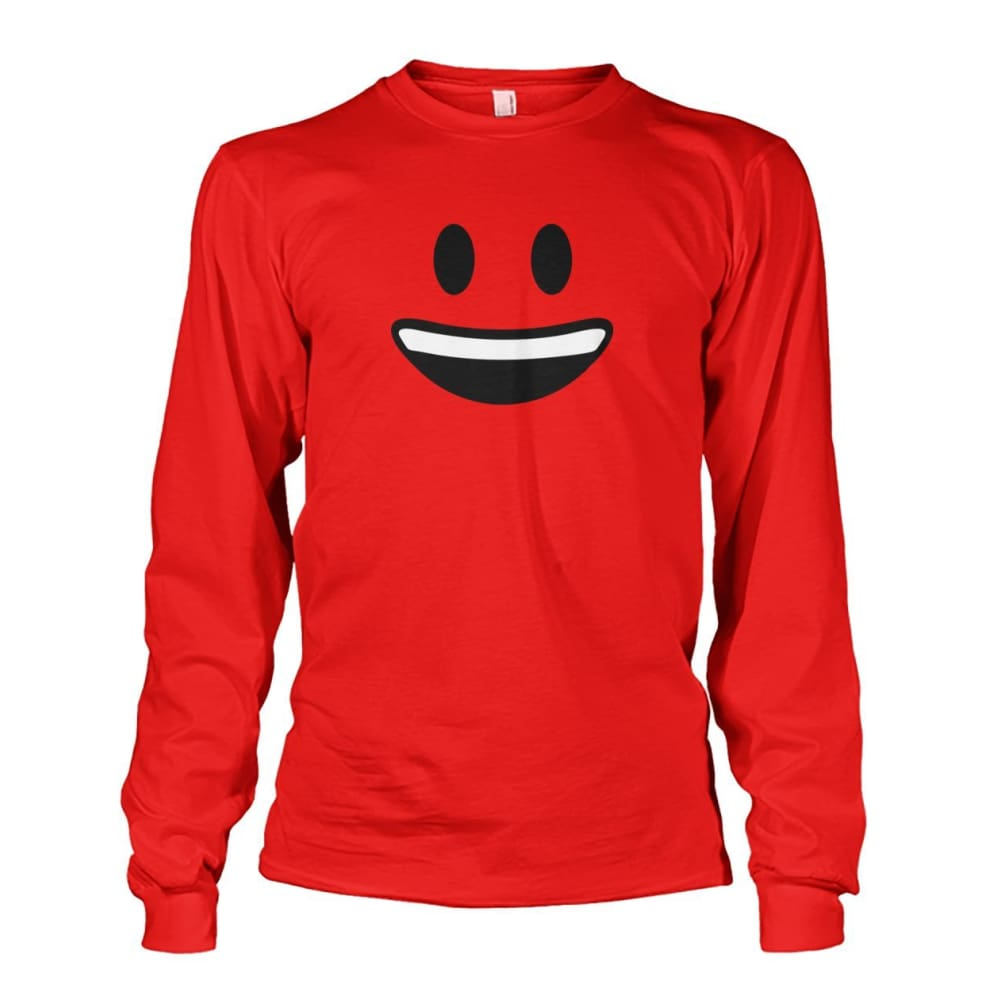 Smiley Face With teeth Long Sleeve - Red / S - Long Sleeves