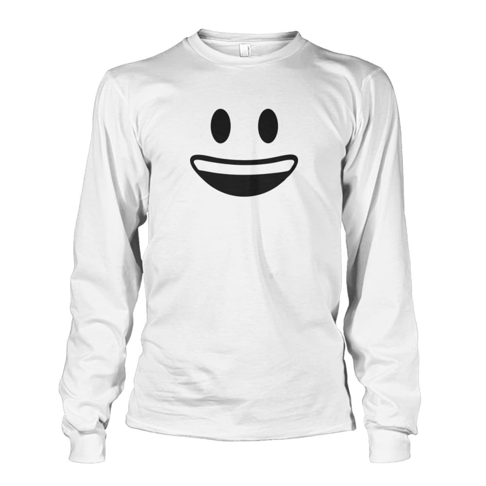Smiley Face With teeth Long Sleeve - White / S - Long Sleeves
