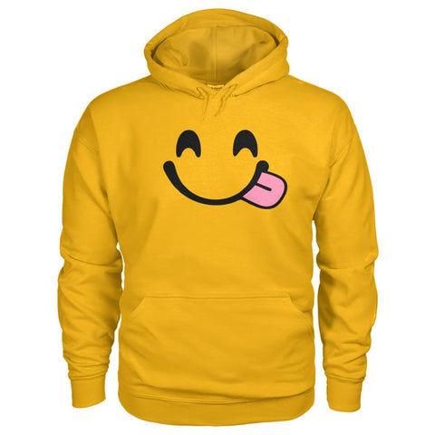 Smiley Face With Tongue Hoodie - Gold / S - Hoodies