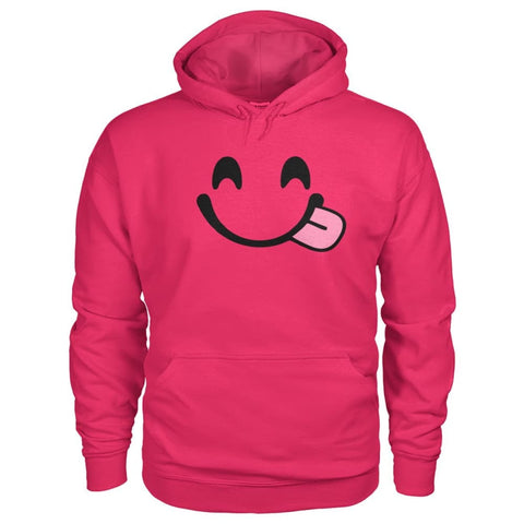 Smiley Face With Tongue Hoodie - Heliconia / S - Hoodies