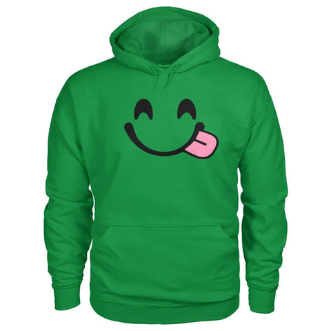 Smiley Face With Tongue Hoodie - Irish Green / S - Hoodies