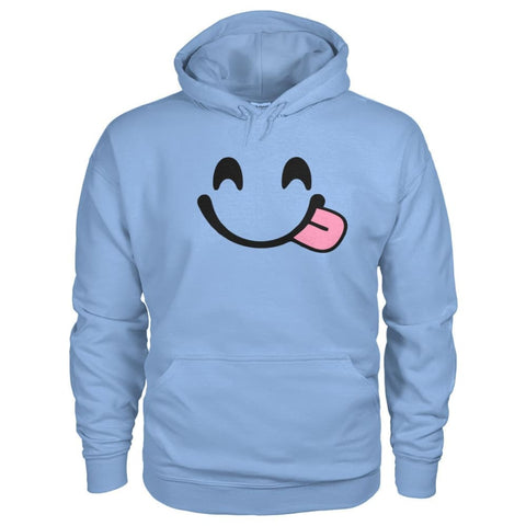 Smiley Face With Tongue Hoodie - Light Blue / S - Hoodies