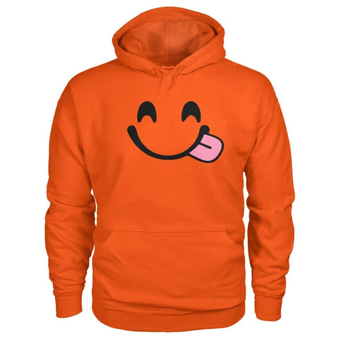 Smiley Face With Tongue Hoodie - Orange / S - Hoodies