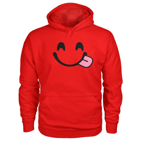 Smiley Face With Tongue Hoodie - Red / S - Hoodies