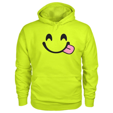 Smiley Face With Tongue Hoodie - Safety Green / S - Hoodies
