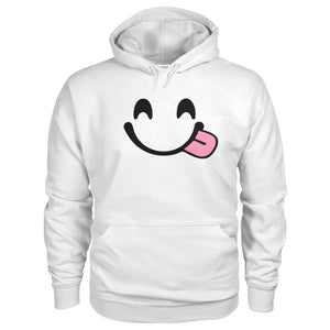 Smiley Face With Tongue Hoodie - White / S - Hoodies