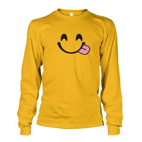 Image of Smiley Face With Tongue Long Sleeve - Gold / S - Long Sleeves