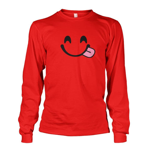 Smiley Face With Tongue Long Sleeve - Red / S - Long Sleeves