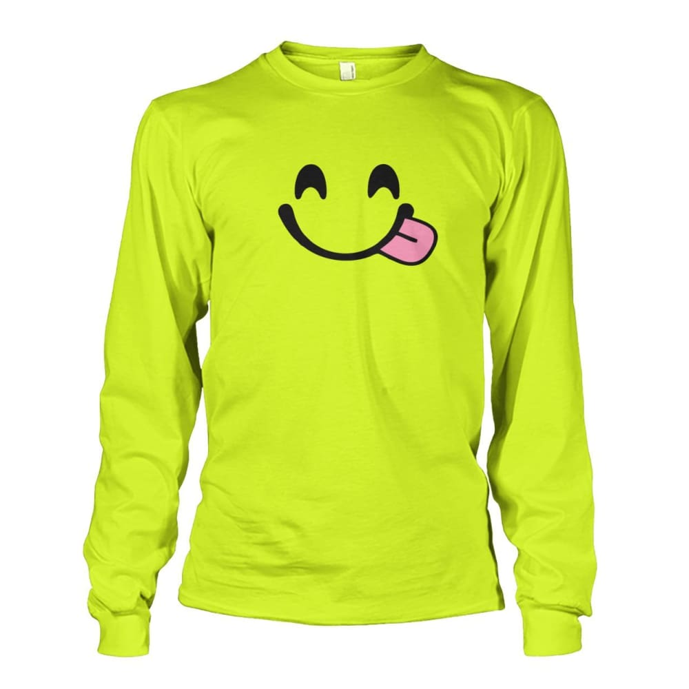 Smiley Face With Tongue Long Sleeve - Safety Green / S - Long Sleeves