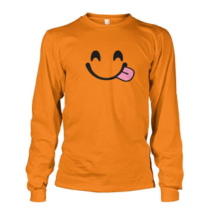 Smiley Face With Tongue Long Sleeve - Safety Orange / S - Long Sleeves