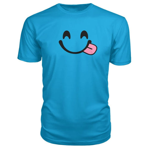 Image of Smiley Face With Tongue Premium Tee - Carribean Blue / S - Short Sleeves