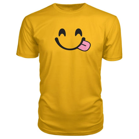 Image of Smiley Face With Tongue Premium Tee - Gold / S - Short Sleeves