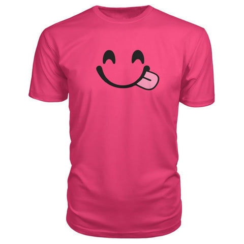 Image of Smiley Face With Tongue Premium Tee - Hot Pink / S - Short Sleeves