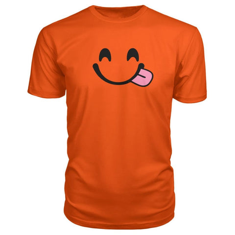 Image of Smiley Face With Tongue Premium Tee - Orange / S - Short Sleeves