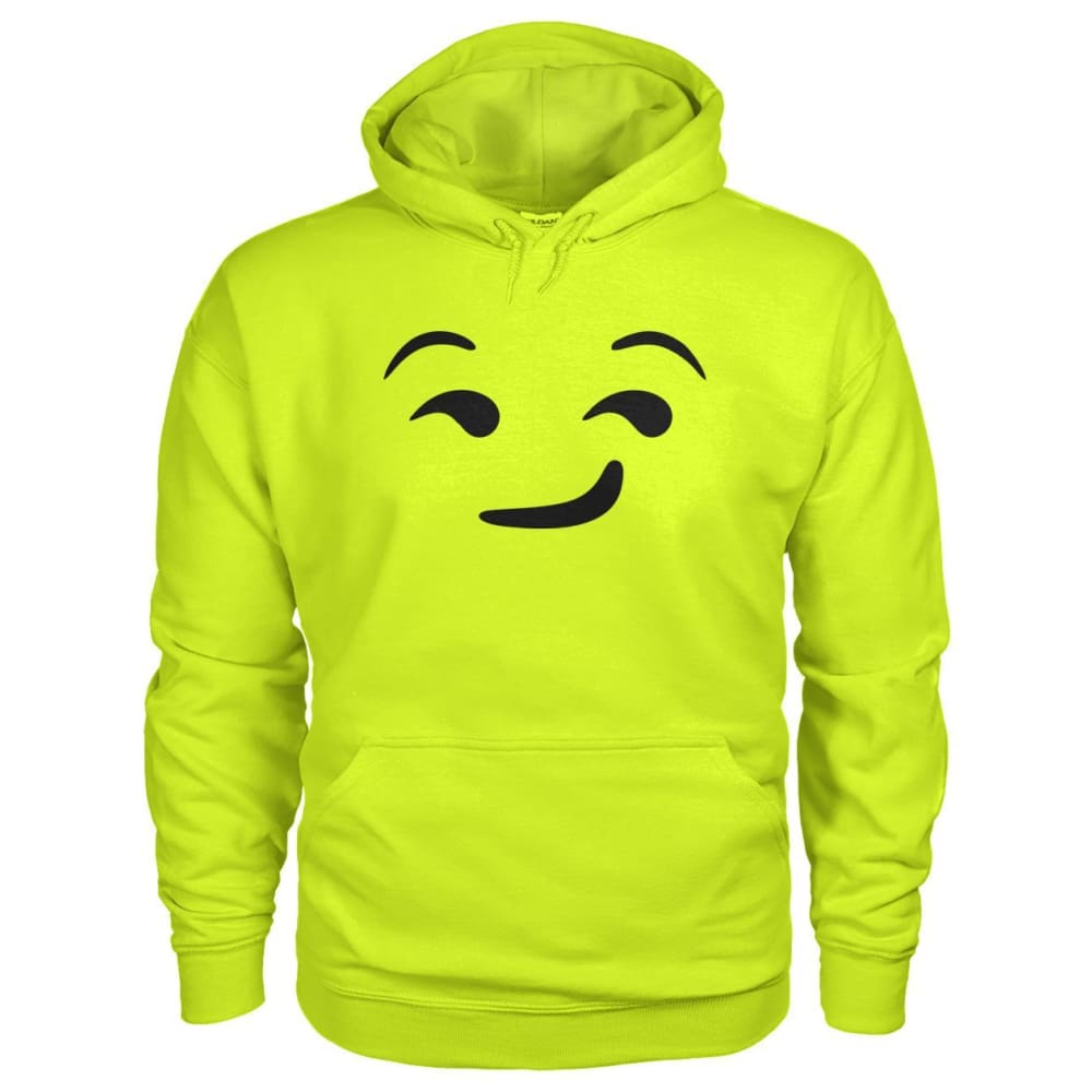 Smirking Face Hoodie - Safety Green / S - Hoodies