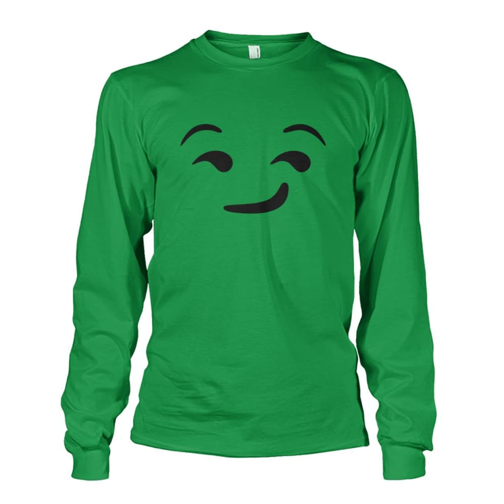 Smirking Face Long Sleeve - Irish Green / S - Long Sleeves