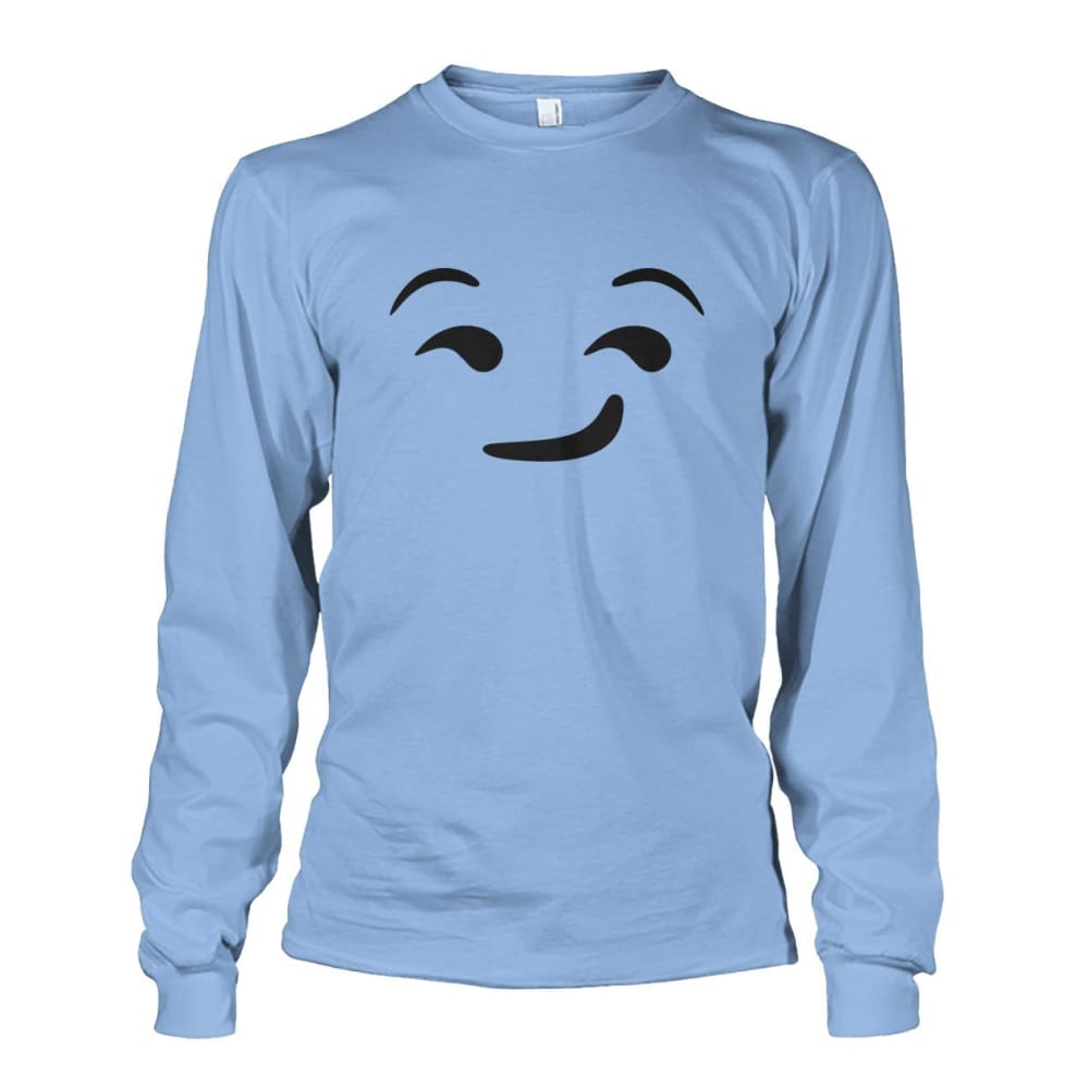 Smirking Face Long Sleeve - Light Blue / S - Long Sleeves