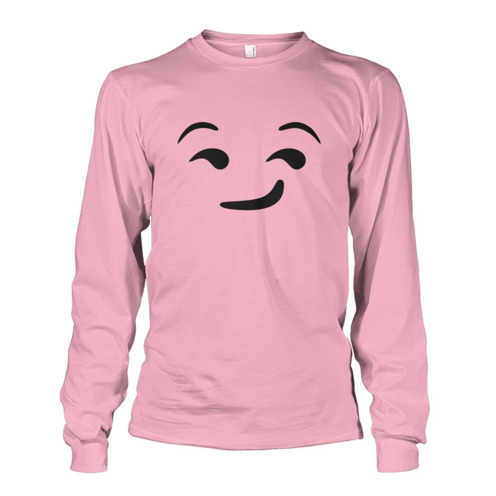 Smirking Face Long Sleeve - Light Pink / S - Long Sleeves