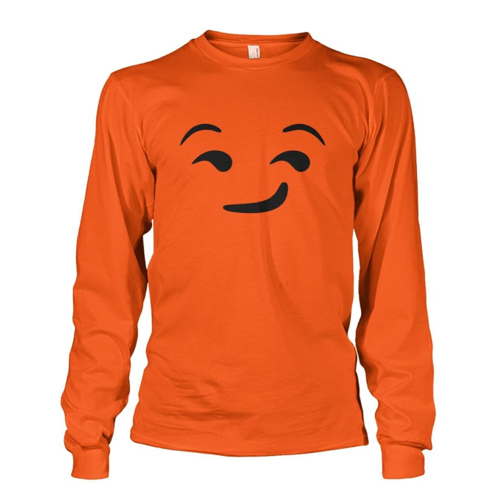 Smirking Face Long Sleeve - Orange / S - Long Sleeves