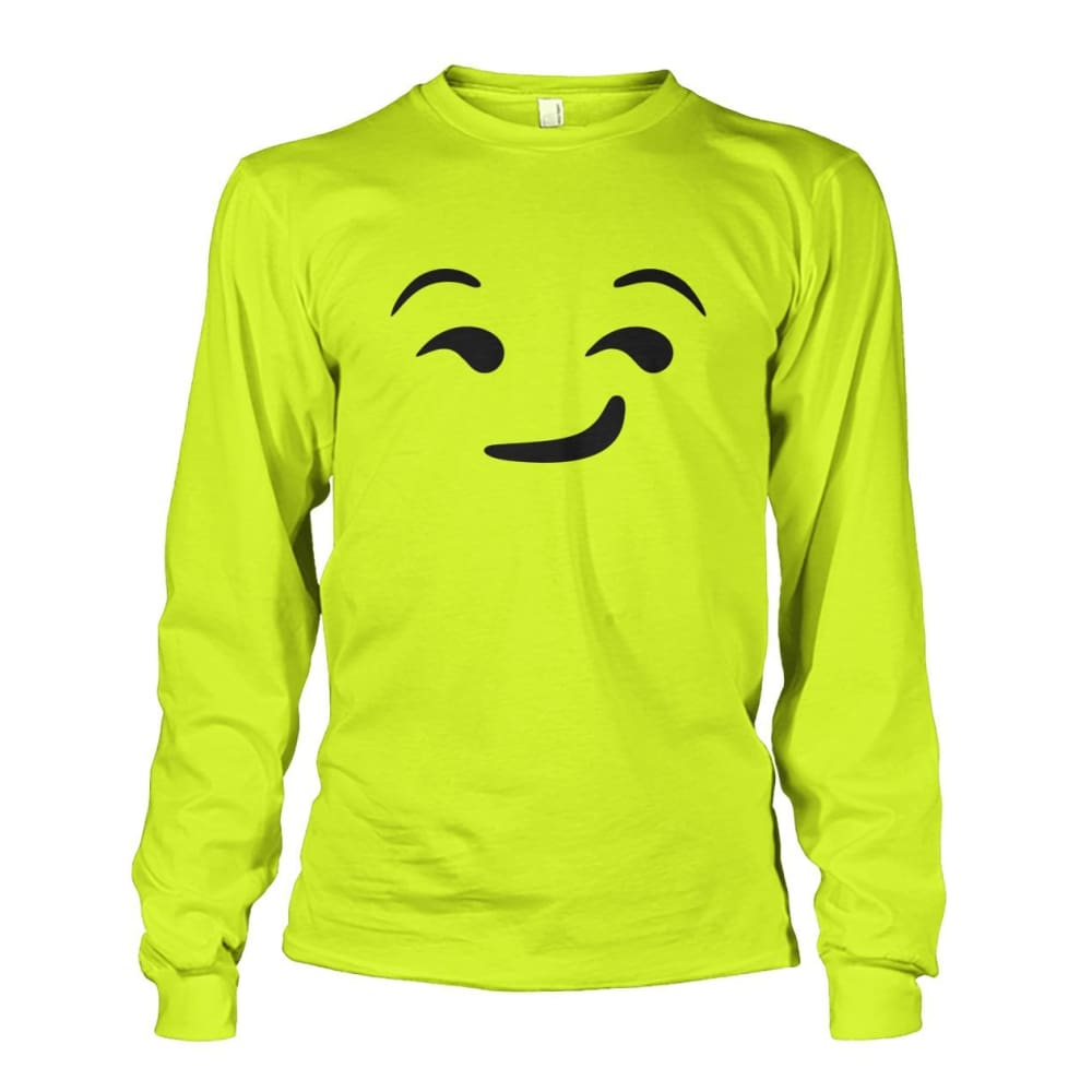 Smirking Face Long Sleeve - Safety Green / S - Long Sleeves