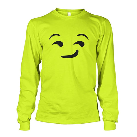 Image of Smirking Face Long Sleeve - Safety Green / S - Long Sleeves