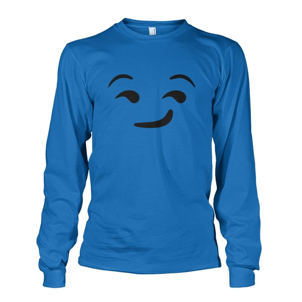 Smirking Face Long Sleeve - Sapphire / S - Long Sleeves