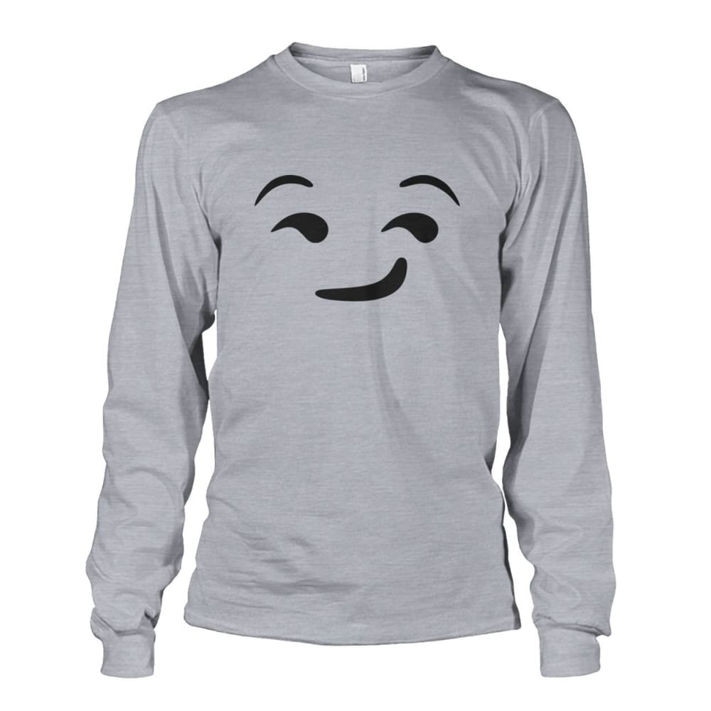 Smirking Face Long Sleeve - Sports Grey / S - Long Sleeves