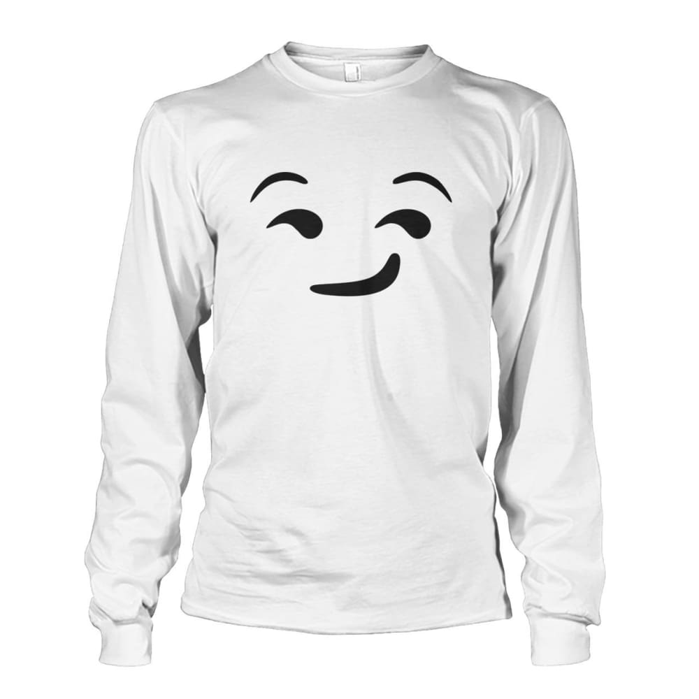 Smirking Face Long Sleeve - White / S - Long Sleeves