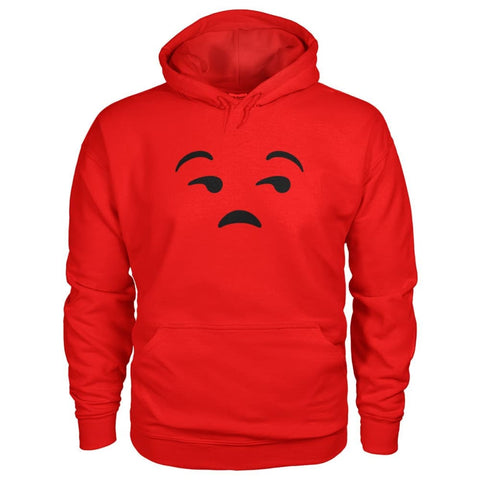 Image of Unamused Face Hoodie - Red / S - Hoodies