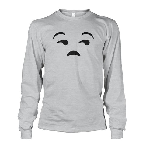 Unamused Face Long Sleeve - Ash Grey / S - Long Sleeves