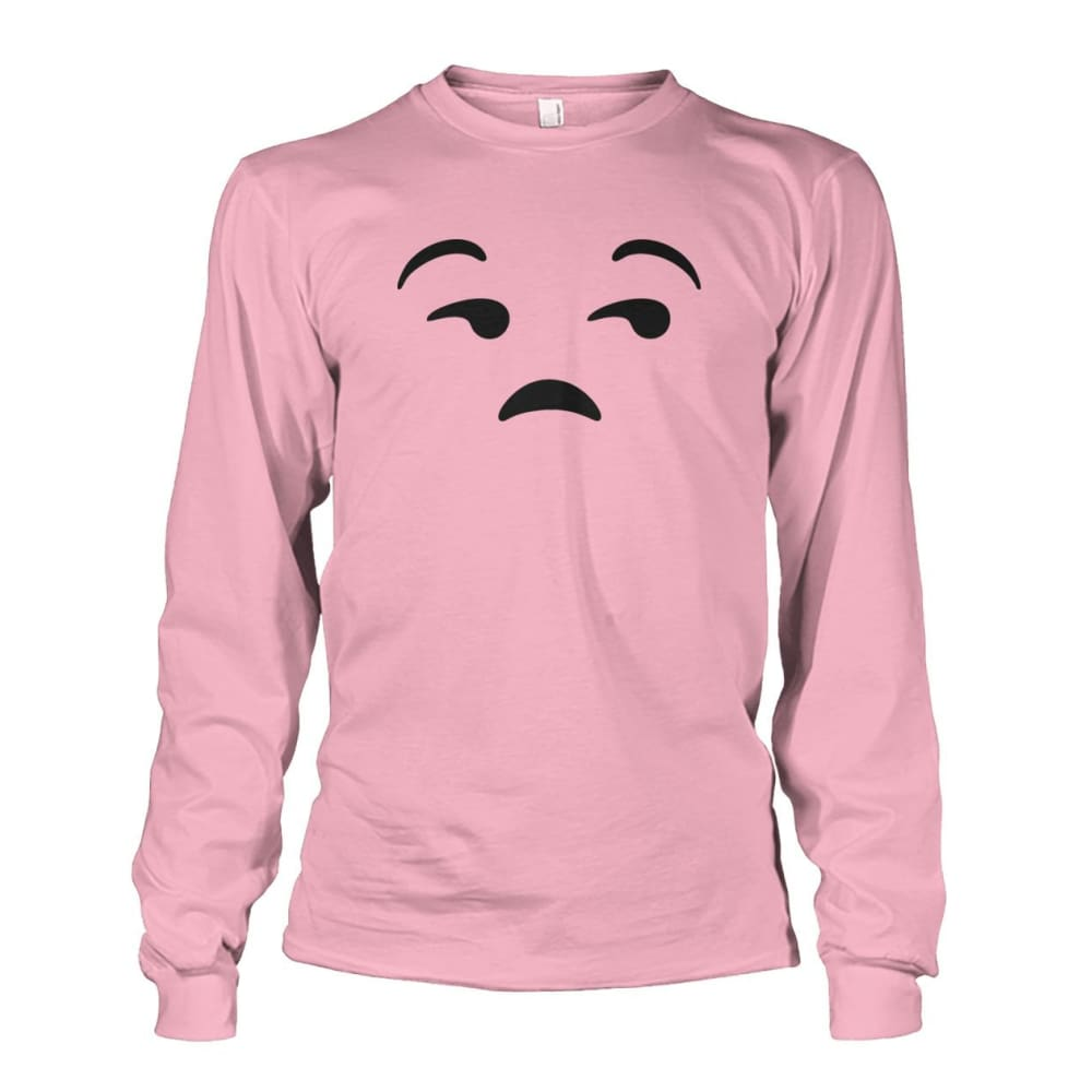 Unamused Face Long Sleeve - Light Pink / S - Long Sleeves